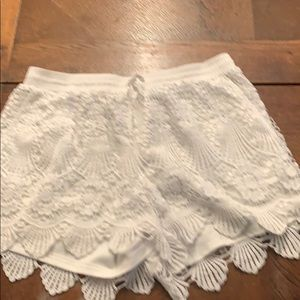 White Lacey shorts
